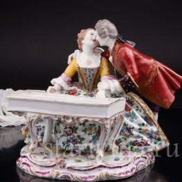 Фарфоровая статуэтка Пара у клавесина, Dressel, Kister & Cie, Германия, 1907-20 гг.